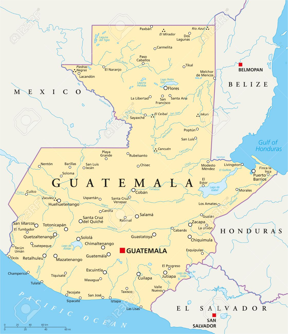 Guatemala political map with capital guatemala city national guatemala political map with capital guatemala city national borders most important cities rivers gumiabroncs Gallery