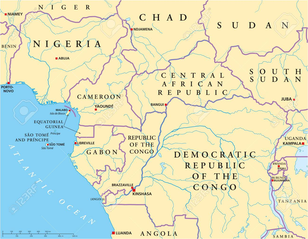 West Central Africa Political Map With Capitals, National Borders