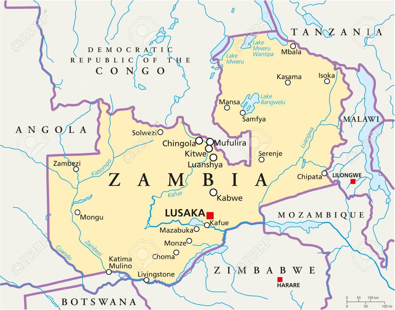Map Zambia.Zambia Political Map With Capital Lusaka National Borders Most