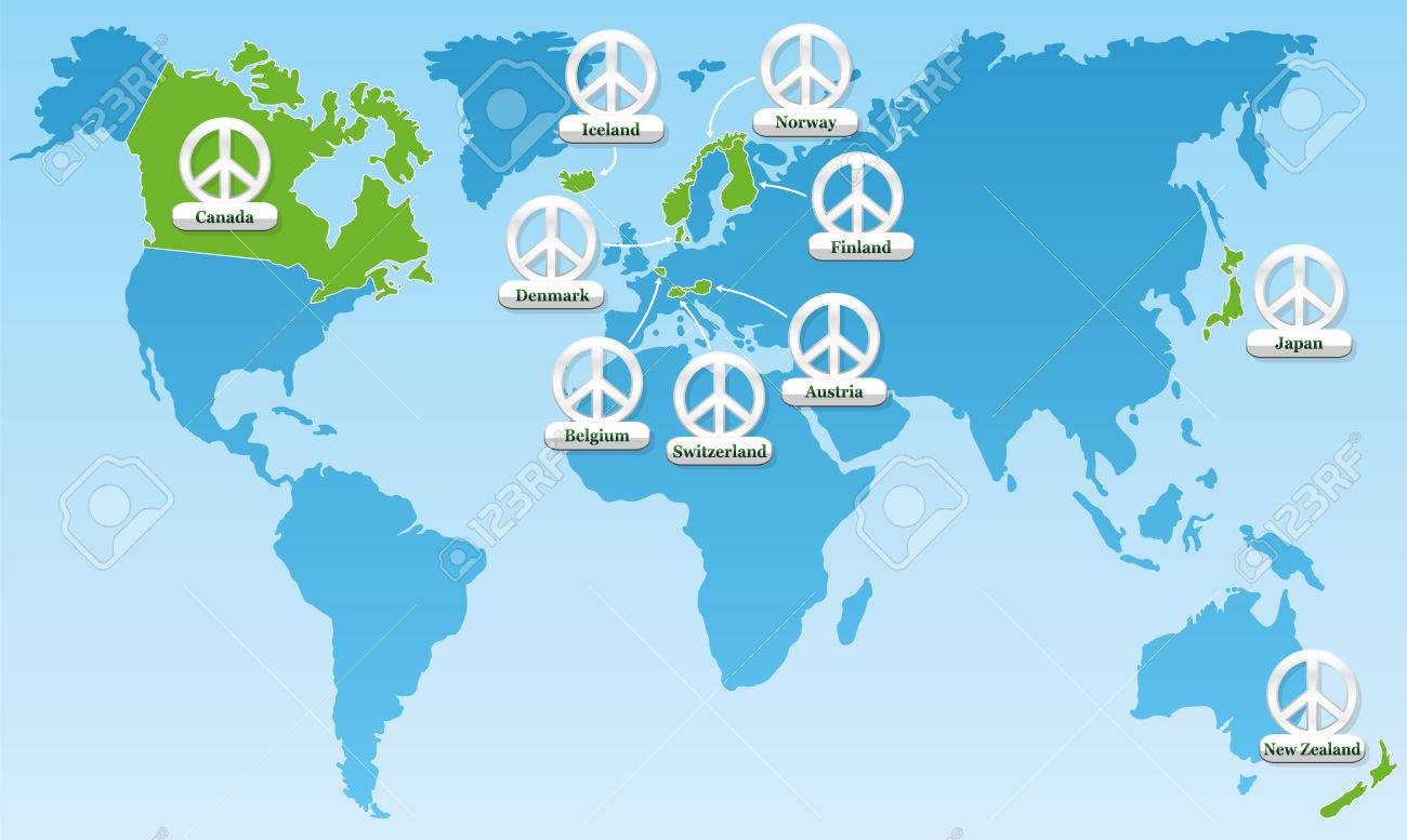 Global Peace World Map Showing The Ten Most Peaceful Countries - Norway map vector countries
