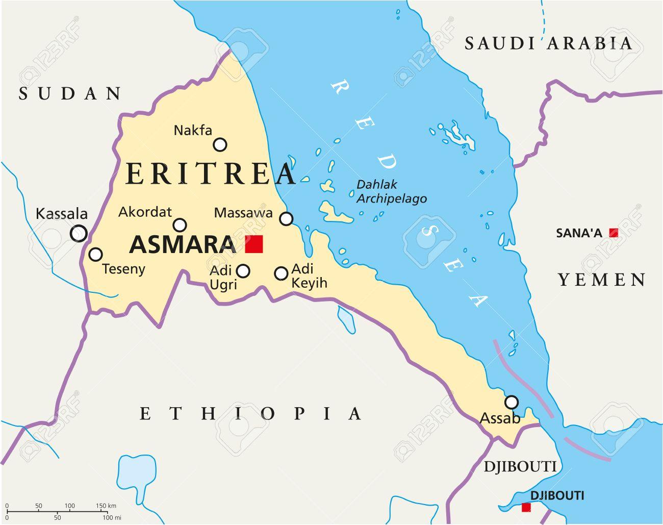 Cartina Eritrea.Vettoriale Eritrea Politica Mappa Con Capitale Asmara I Confini Nazionali Piu Importanti Citta Fiumi E Laghi Illustrazione Con Etichettatura Inglese E Desquamazione Image 31045154