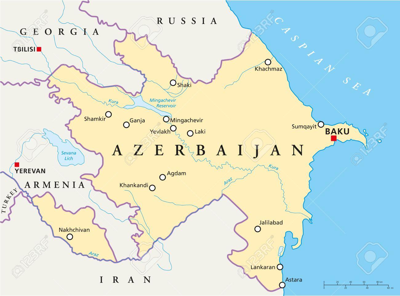 Aserbaidschan Politische Karte Mit Hauptstadt Baku Nationale