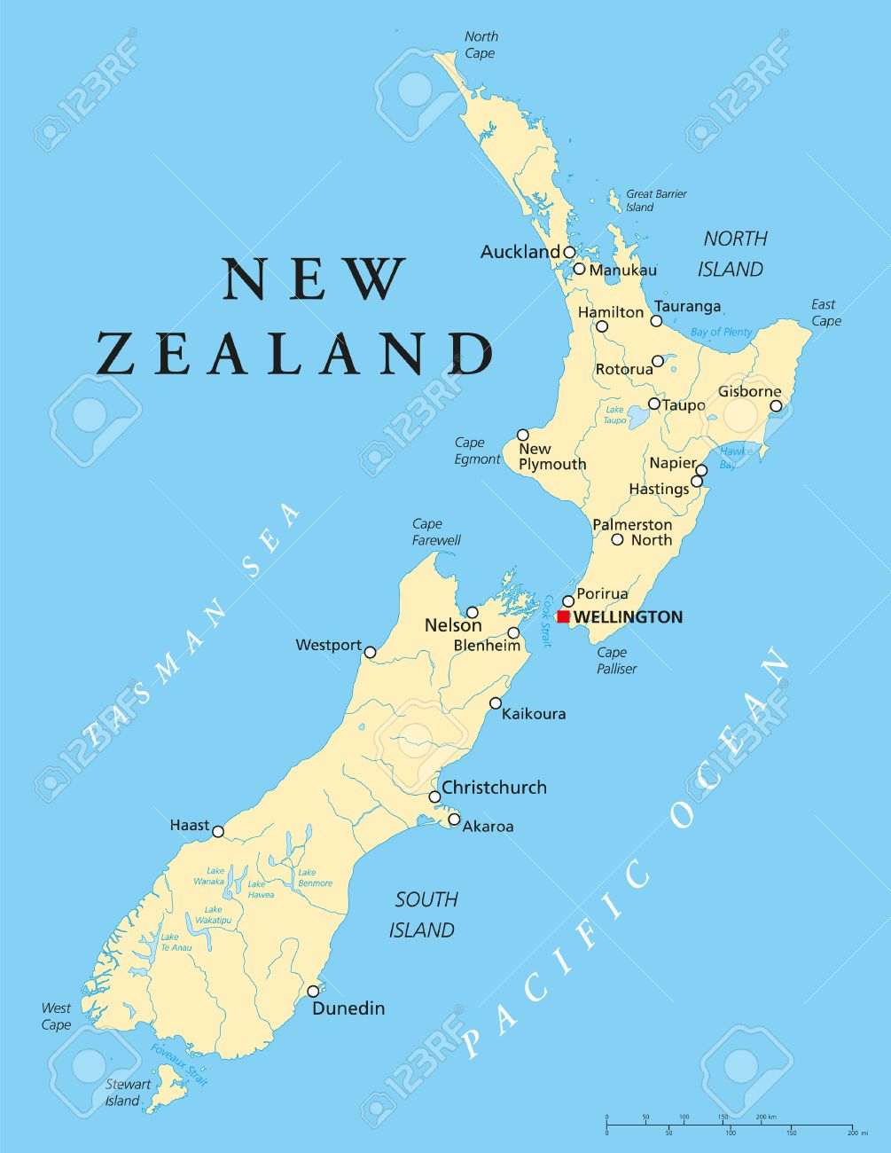Where Is Wellington New Zealand On The Map.New Zealand Political Map With Capital Wellington National Borders
