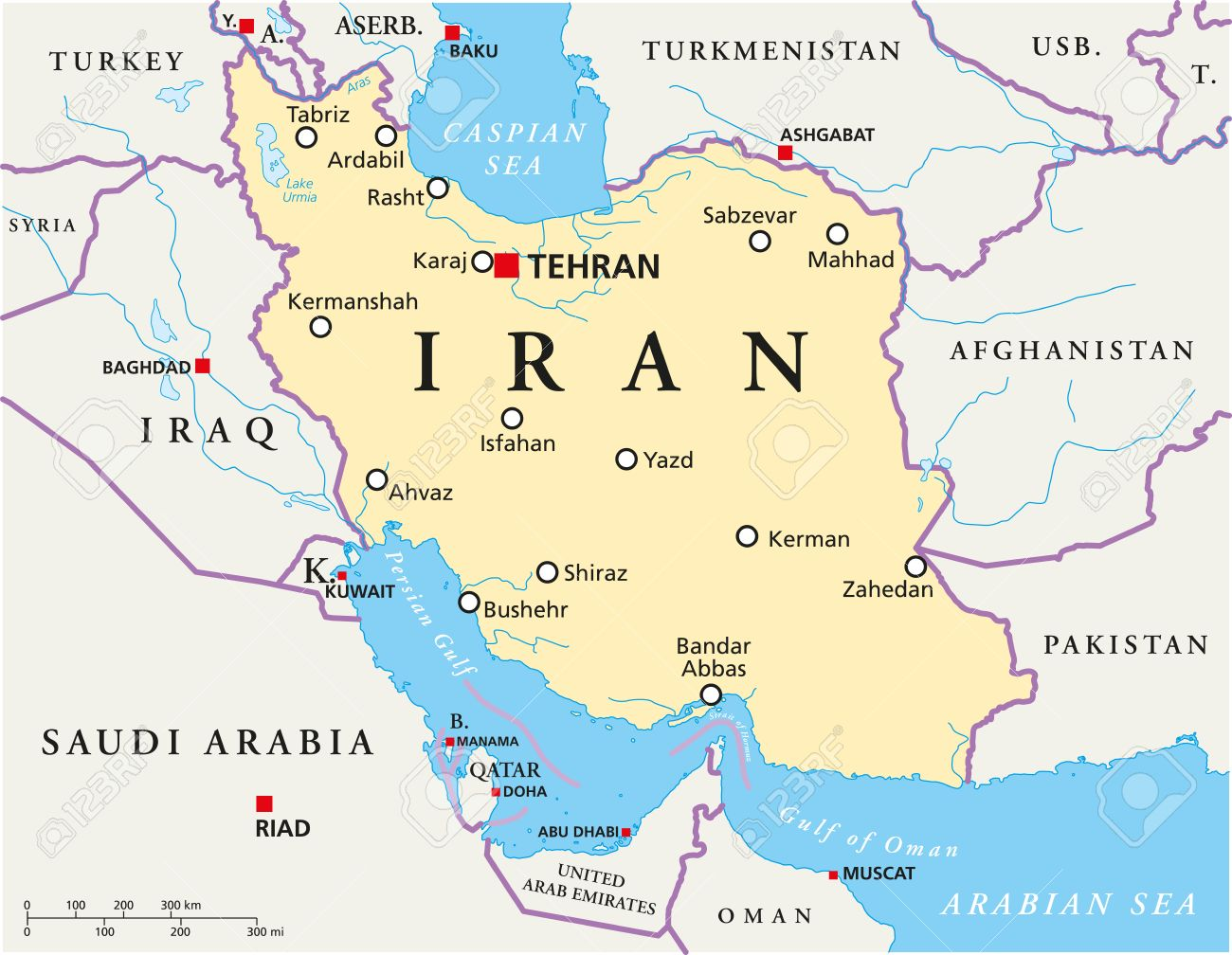 Iran Political Map With Capital Tehran National Borders Most