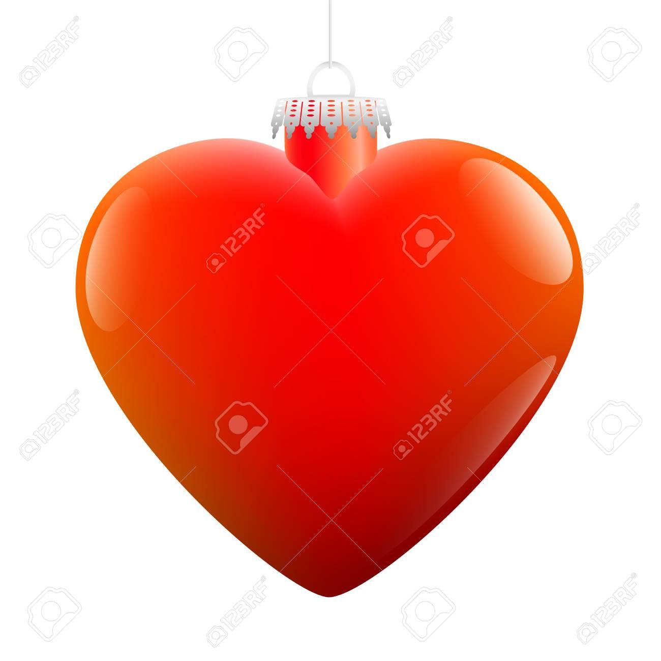 En Forme De Coeur Brillante Boule De Noël Rouge. Clip Art Libres