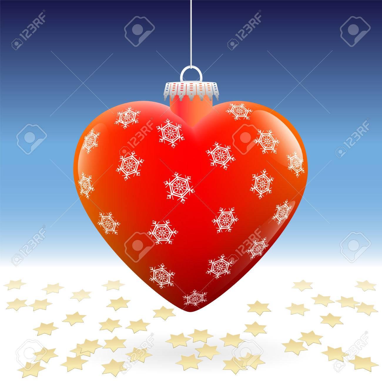En Forme De Coeur Rouge Brillant Boule De Noël Avec Motif De