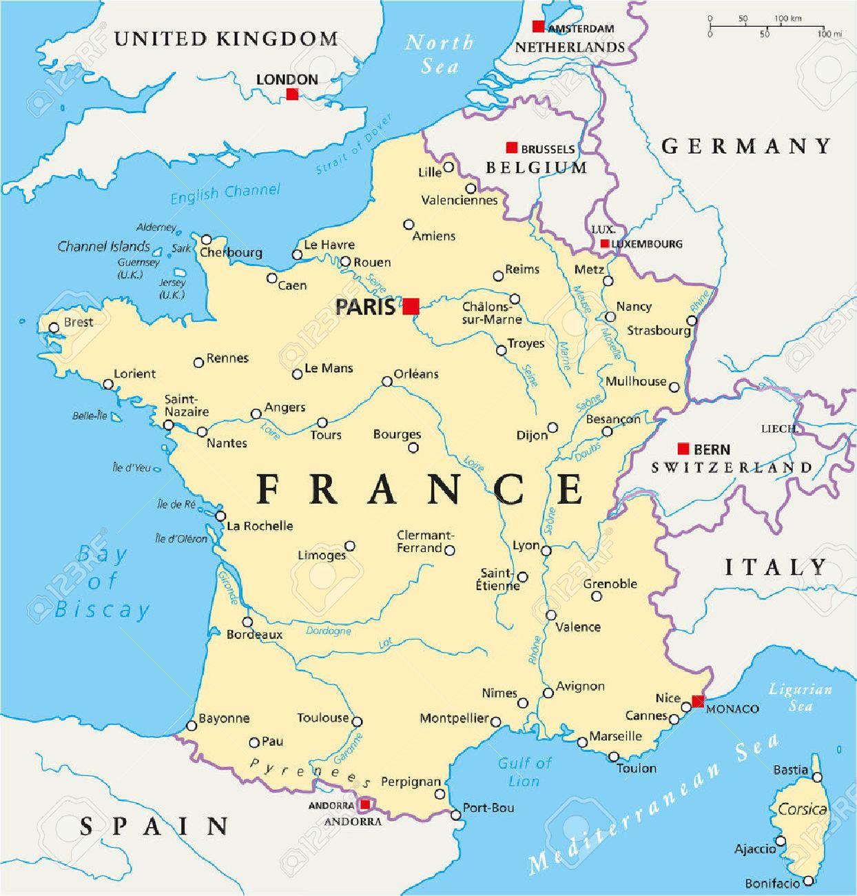フランス首都パリ国境最も重要な都市および川の政治地図英語の