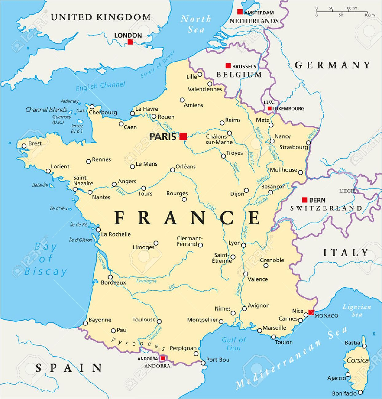 France Political Map With Capital Paris National Borders Most