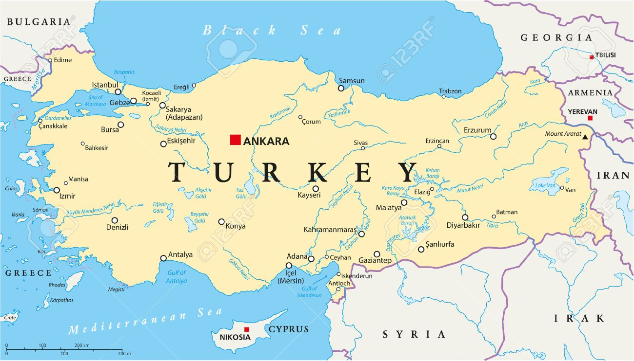 Ankara Turkey Map Turkey Political Map With Capital Ankara, National Borders, Most