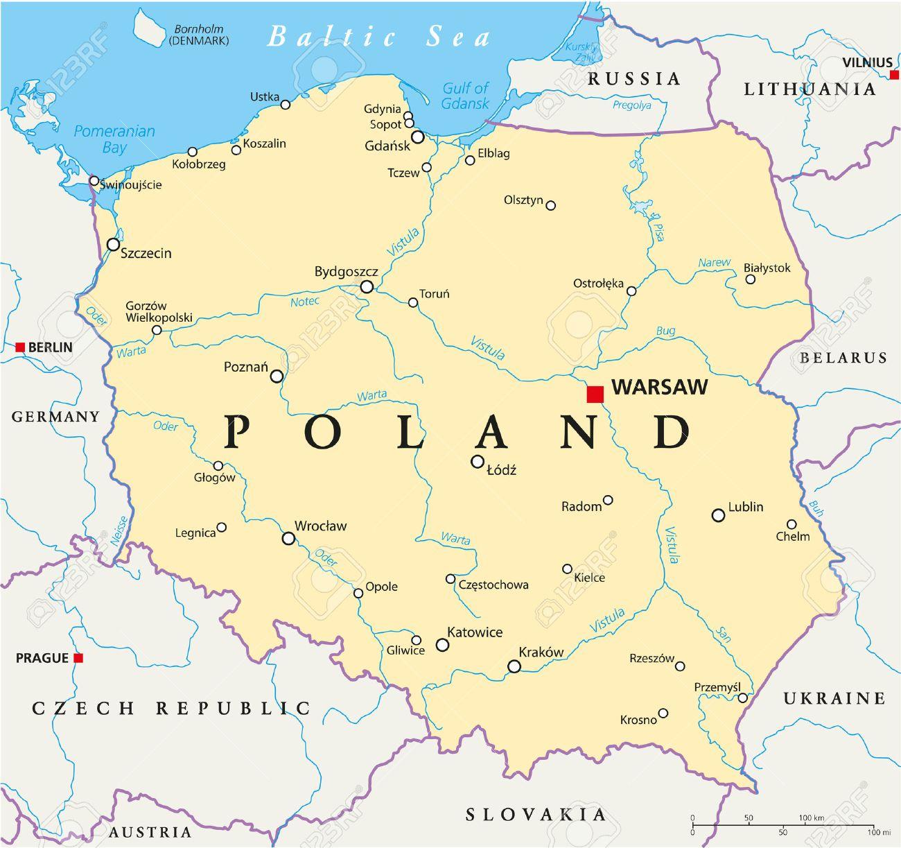 Polen Politische Karte Mit Der Hauptstadt Warschau Die Nationalen