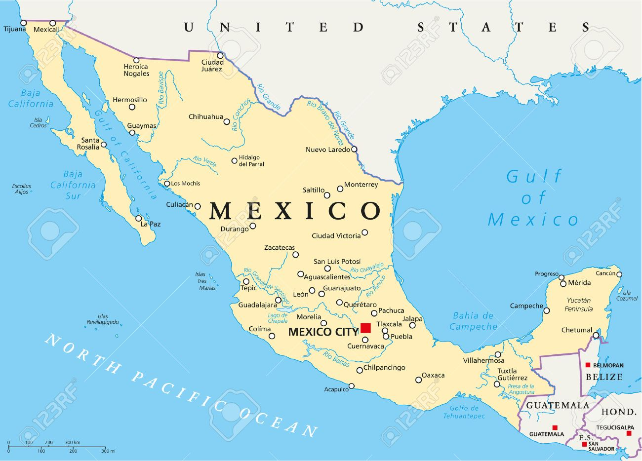 Mexico Political Map With Capital Mexico City National Borders - Map of mexico