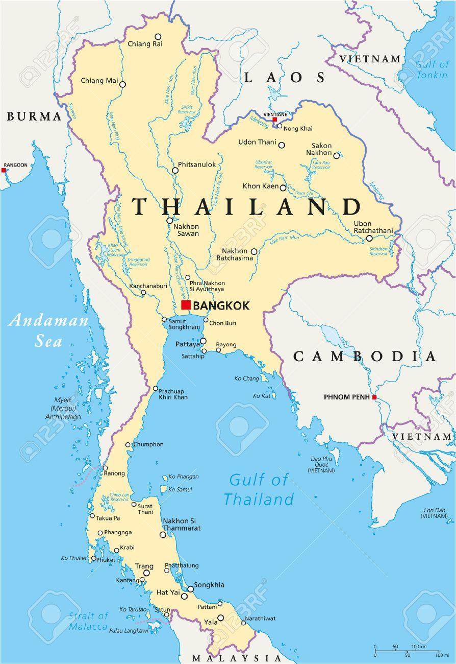 Tailandia Mapa Politico Con El Capital Bangkok Las Fronteras