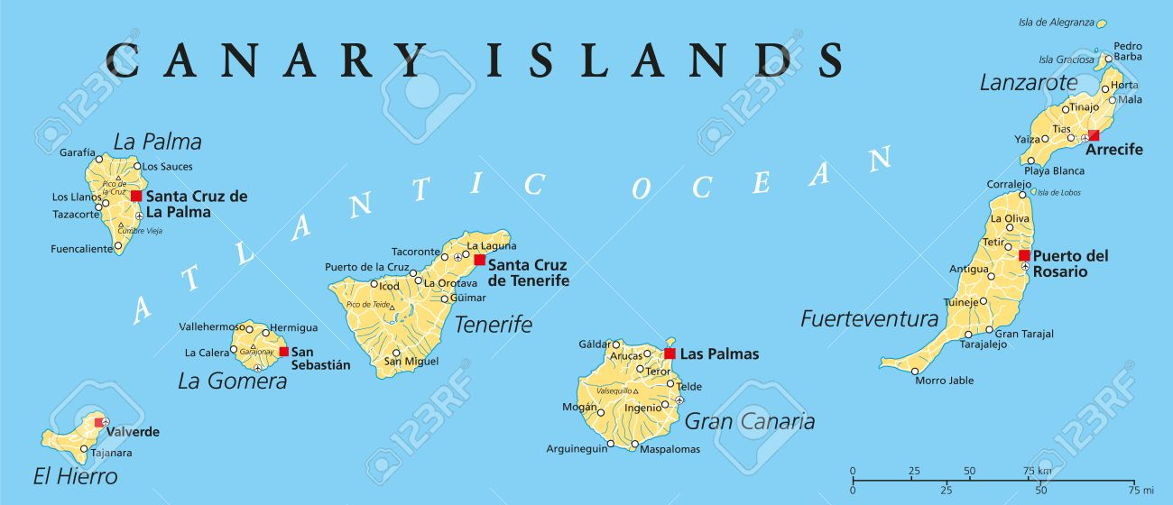 Canary Islands Political Map With Lanzarote, Fuerteventura, Gran ...