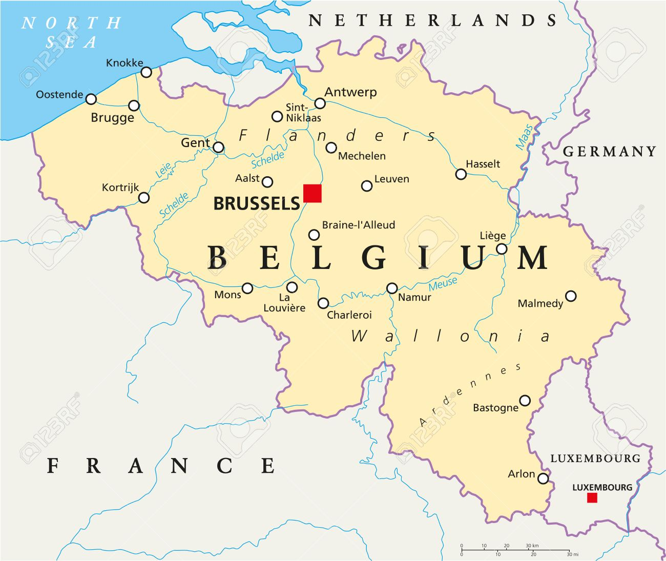 belgium political map with capital brussels national borders most important cities and rivers stock