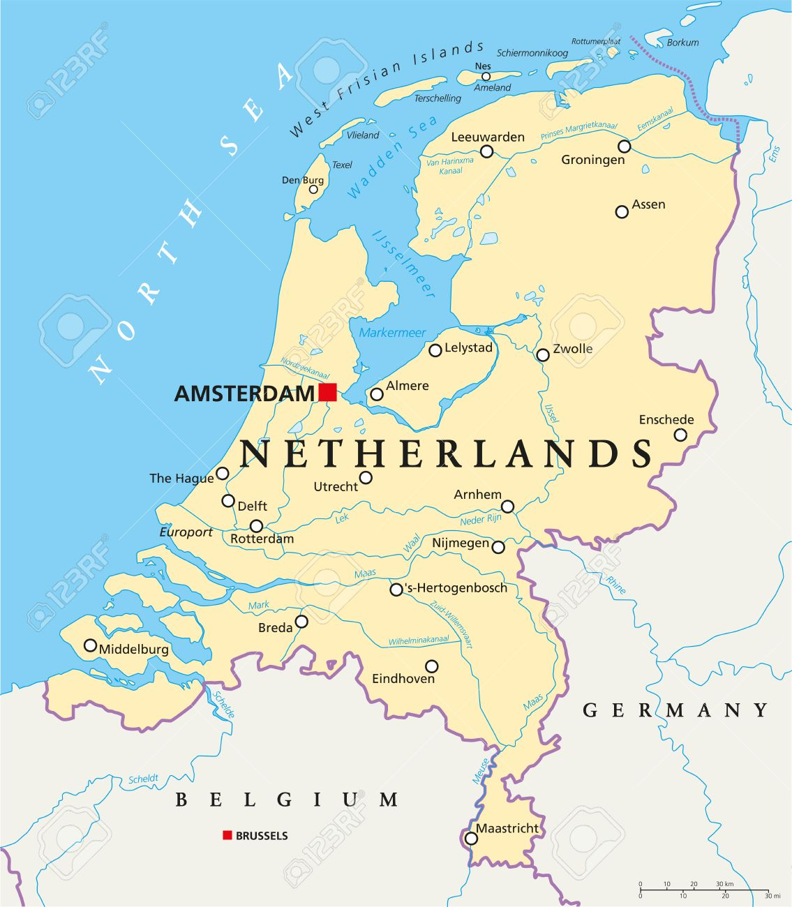Netherlands Political Map With Capital Amsterdam National Borders