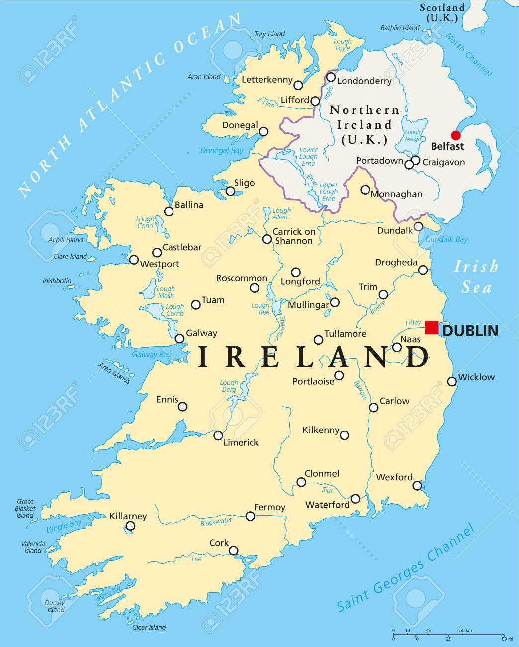 irland karte städte Irland Politische Karte Mit Hauptstadt Dublin, Nationale Grenzen