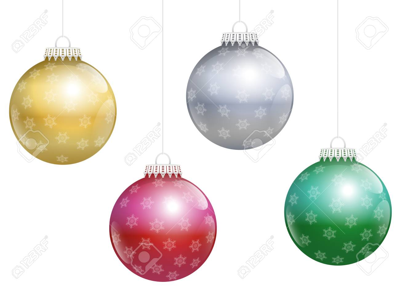 Golden Silver Red And Green Glossy Christmas Tree Balls With