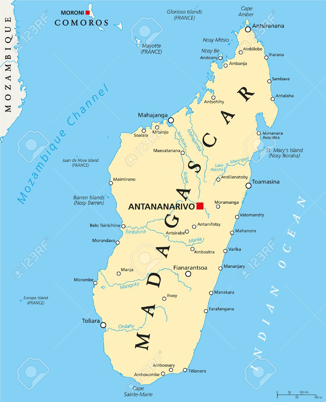 Antananarivo Madagascar Carte.Madagascar Carte Politique Avec Capitale Antananarivo Les Frontieres Nationales Les Villes Importantes Les Rivieres Et Les Lacs Etiquetage Anglais