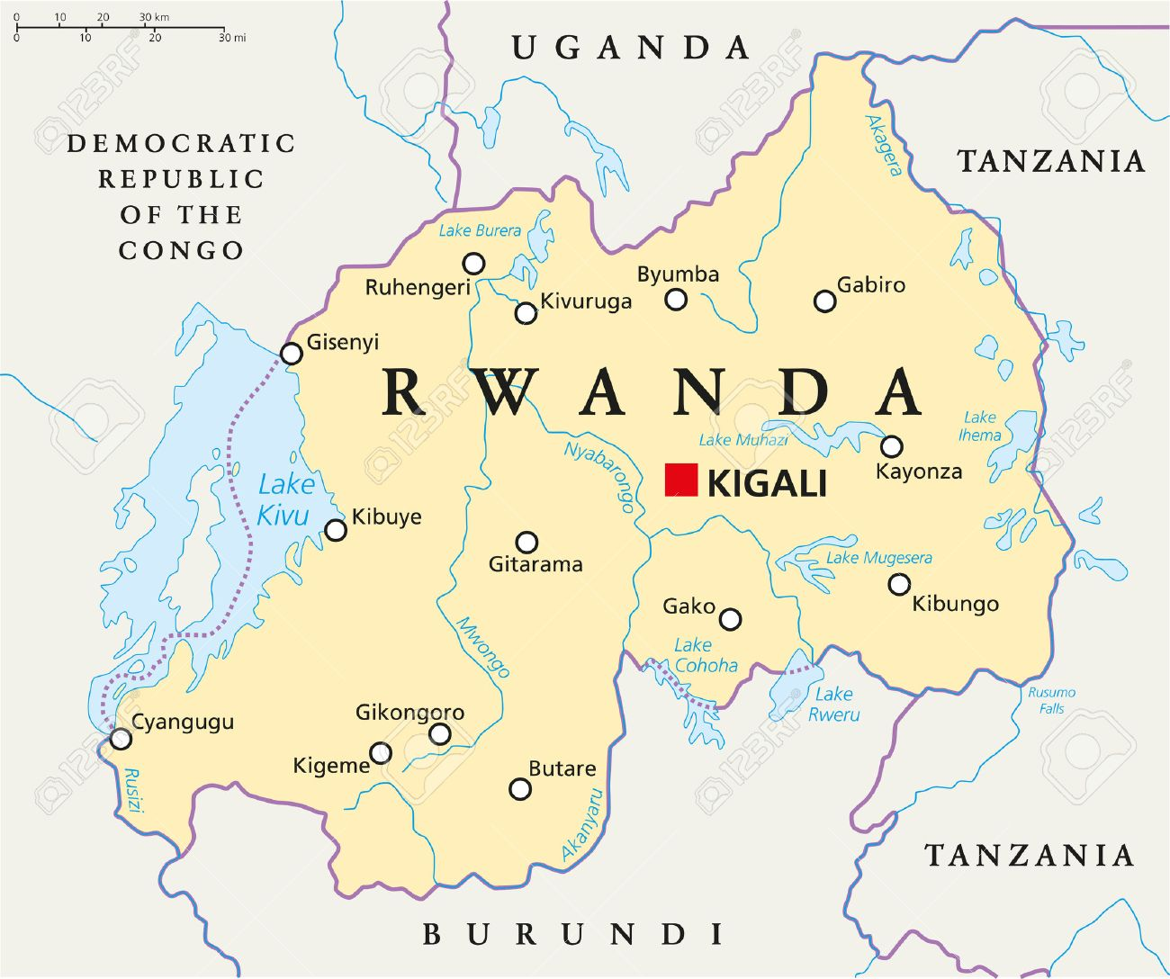 Rwanda Political Map With Capital Kigali, National Borders