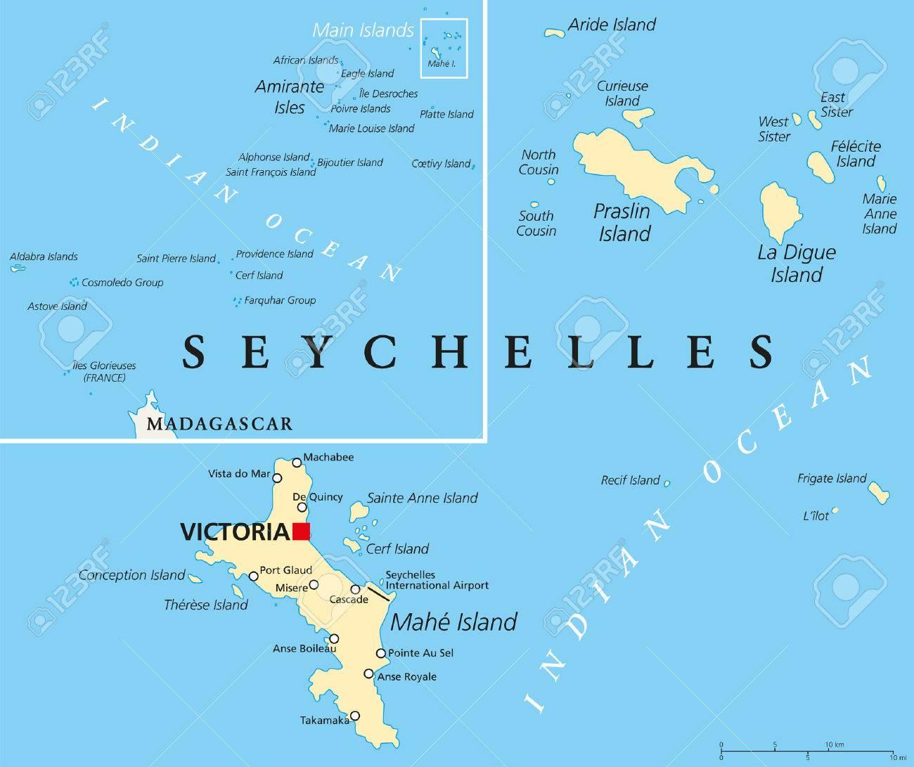 Seychelles Mapa Politico Con Capital De Victoria Ciudades E Islas Importantes Y Un Mapa General De Todo El Archipielago Etiquetado Y Escalado