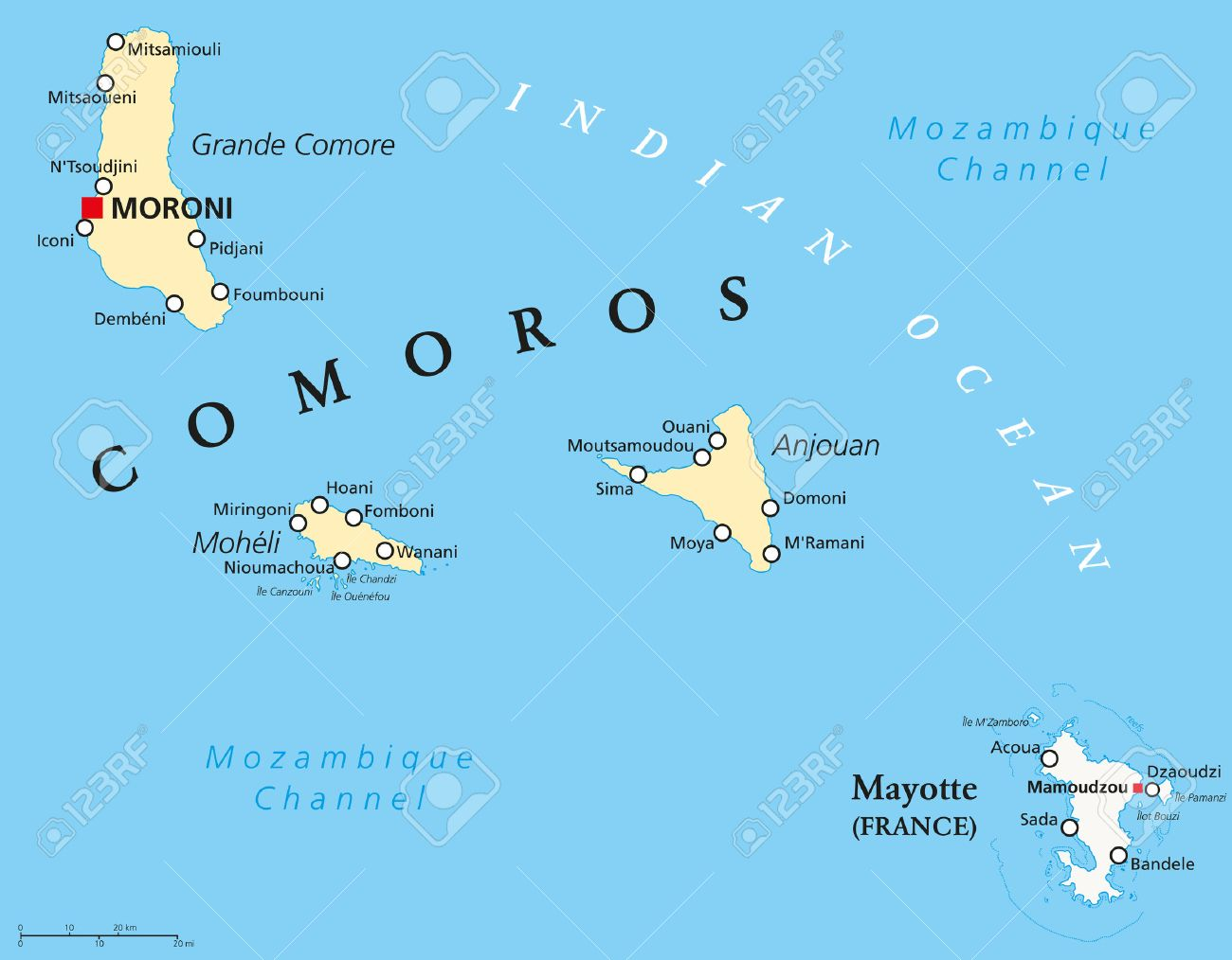 Political Map Of Comoros With Capital Moroni Important Cities - Comoros map