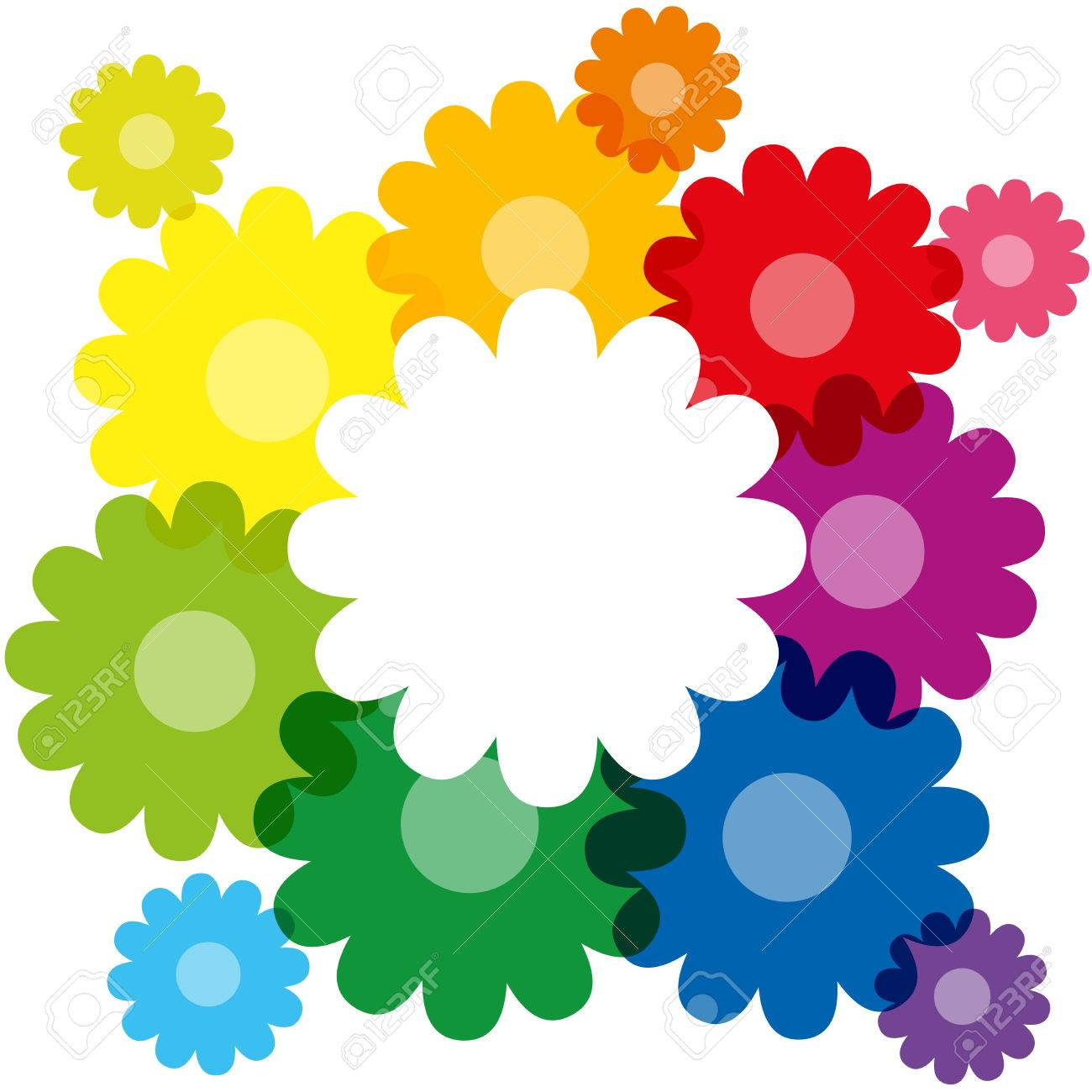 Rainbow Colored Flowers Forming A Colorful Bouquet And Frame ...
