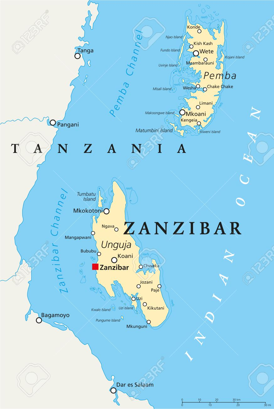 Zanzibar Political Map Of The Semi Autonomous Part Of Tanzania