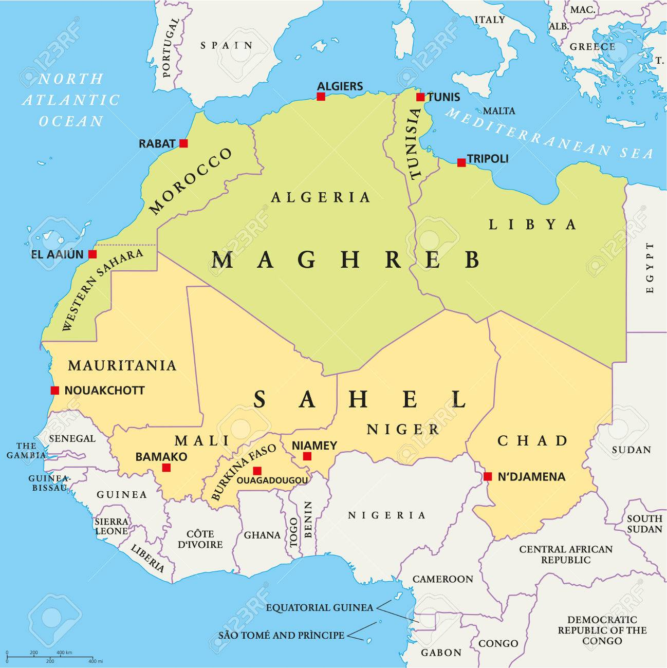 Maghreb And Sahel Political Map With Capitals And National Borders