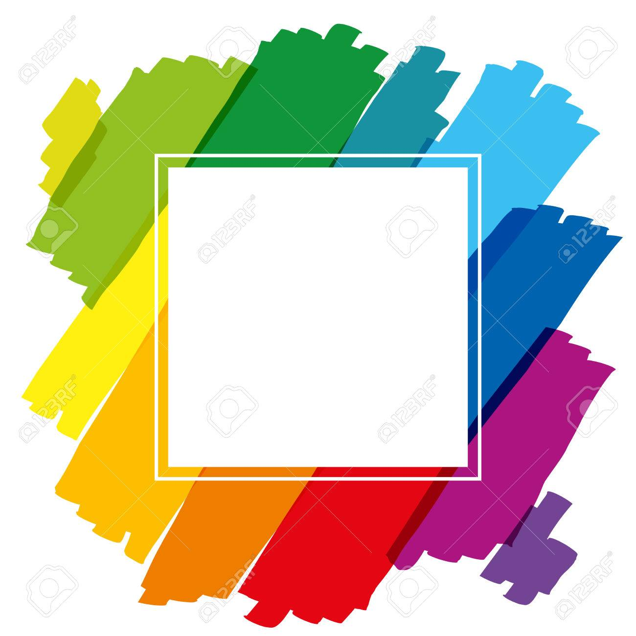 Rainbow Colored Brush Strokes Forming A Colorful Square Frame