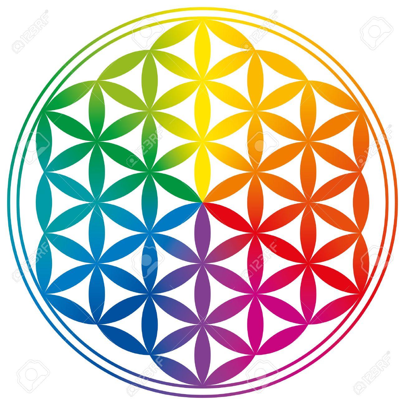 Fleur de Vie avec des dégradés de couleurs arc en ciel. Cercles forment un motif de fleur-like. Un symbole spirituel depuis les temps anciens et la géométrie sacrée. Banque d'images - 34617008