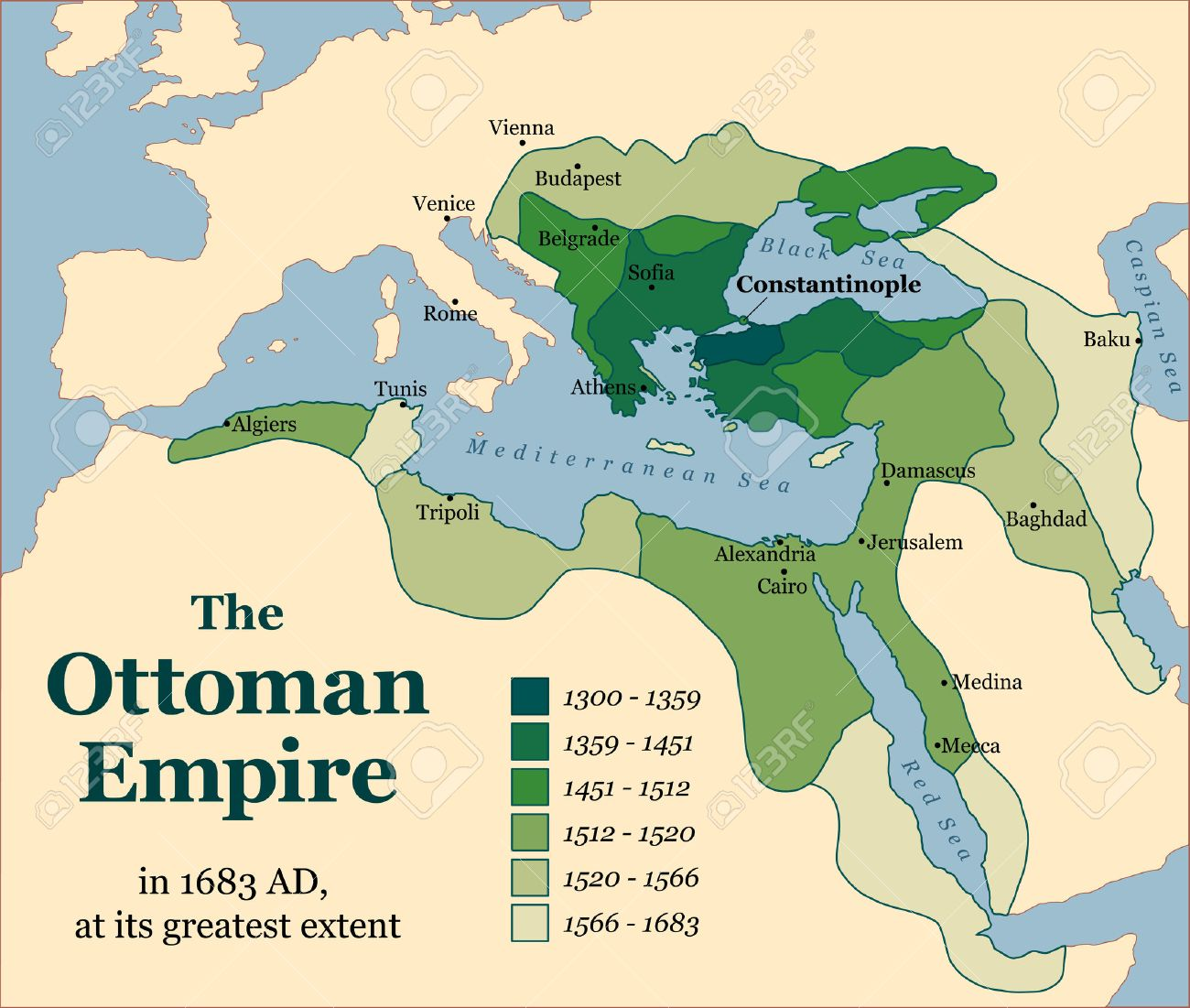 The Ottoman Empire at its greatest extent in 1683. Vector illustration.  Stock Vector -