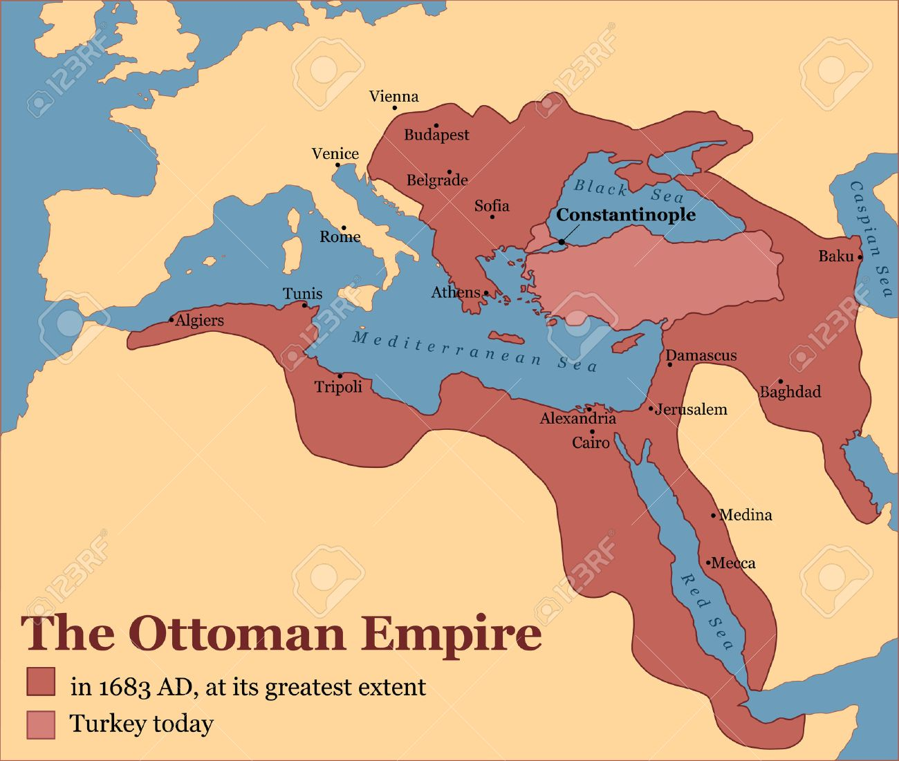 The Ottoman Empire at its greatest extent in 1683, and Turkey today. Vector  illustration