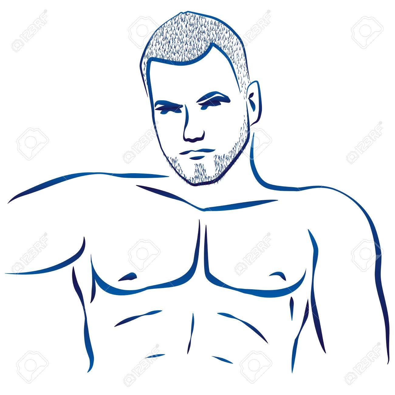 Prinzipdarstellung Eines Nackten Mannes Muskulösen Oberkörper ...