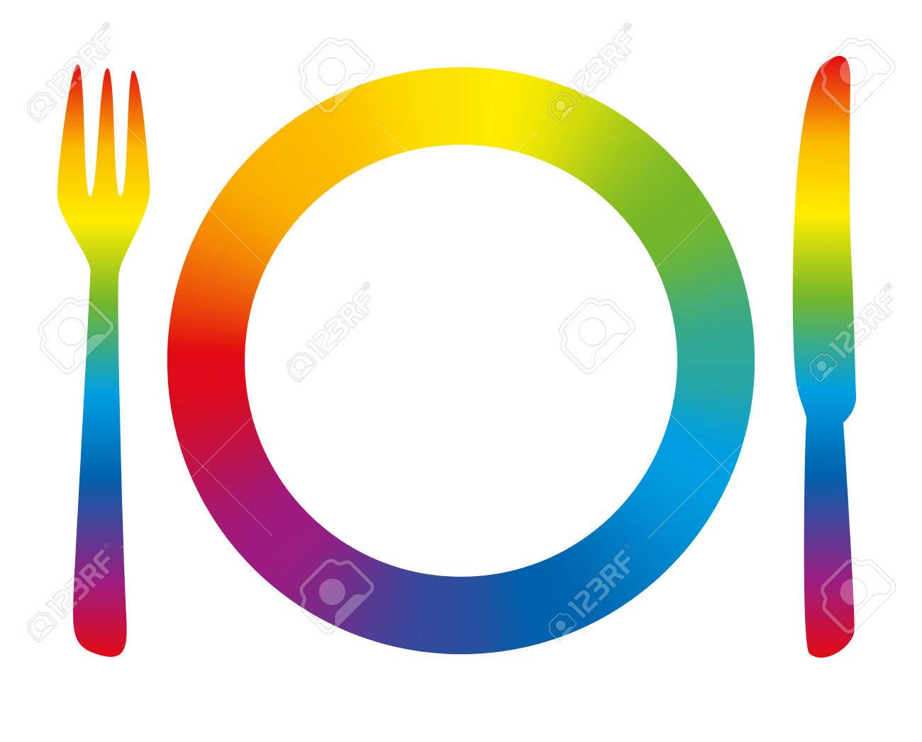 Rainbow Colored Place Setting As A Symbol For Having Fun At Dinner