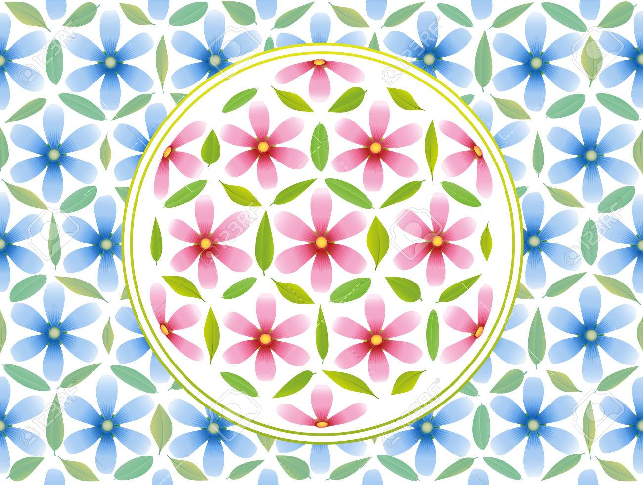 Flower Of Life Symbol Composed Of Pink Flowers And Green Leaves
