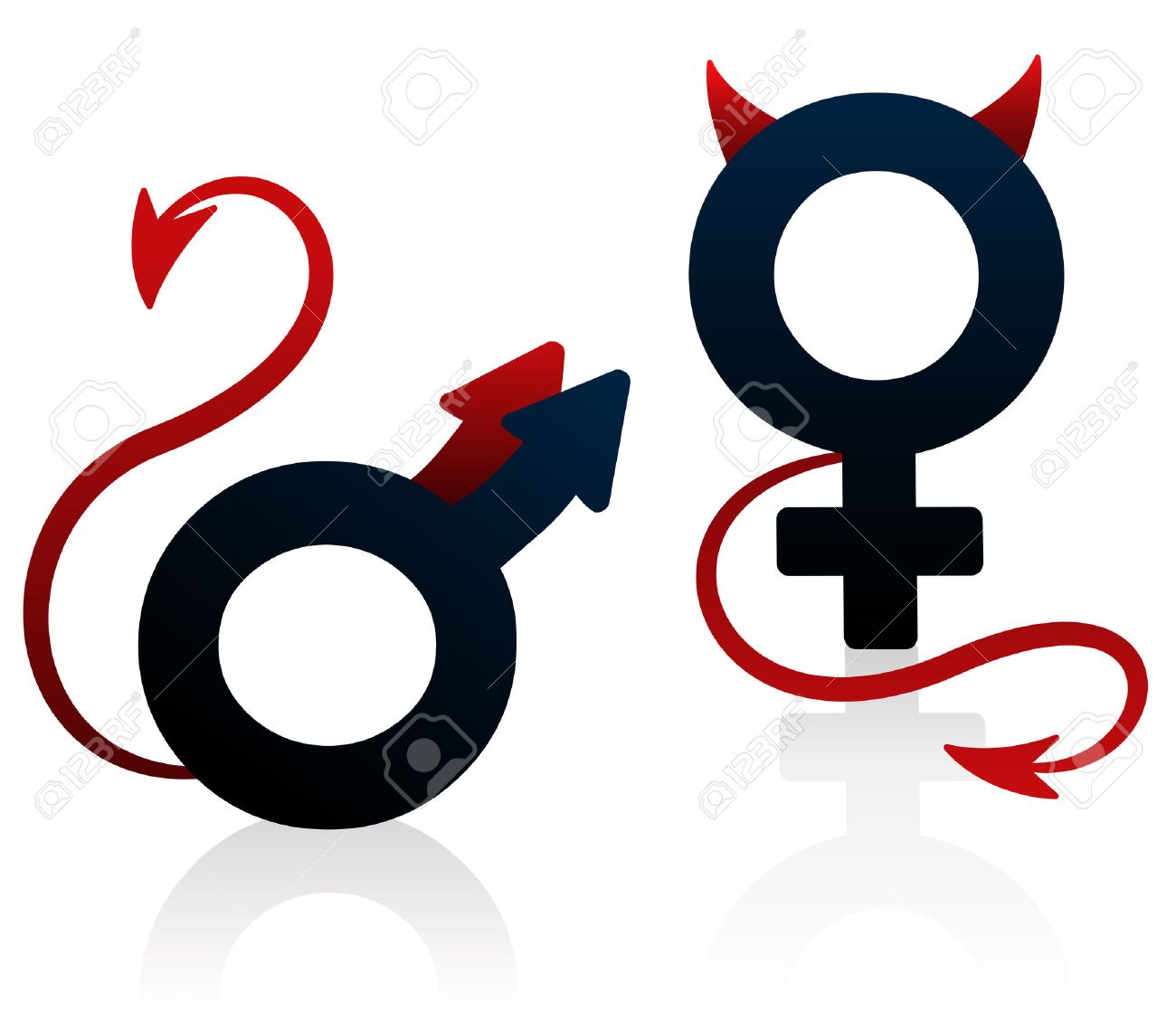 Bad Girl And Bad Guy Figured As The Female And Male Symbol With
