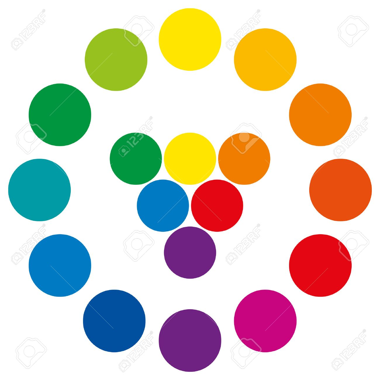 Color Wheel With Circles, Showing The Complementary Colors That ...