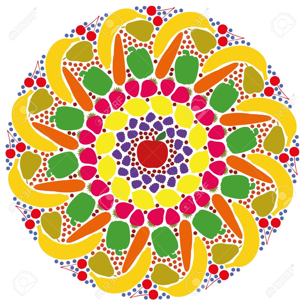 Mandala Out Of Colorful Fruits And Vegetables Isolated Vector Illustration On White Background Stock