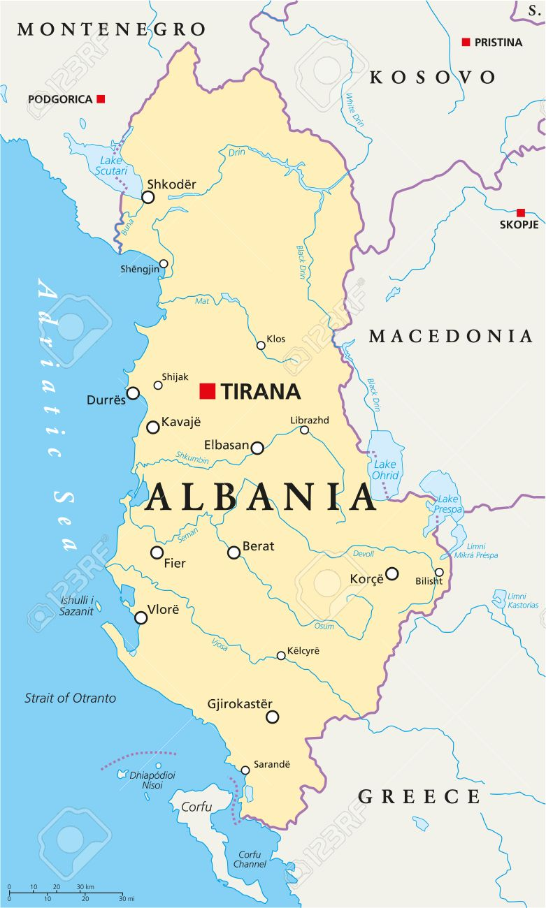 Albania Political Map With Capital Tirana, National Borders