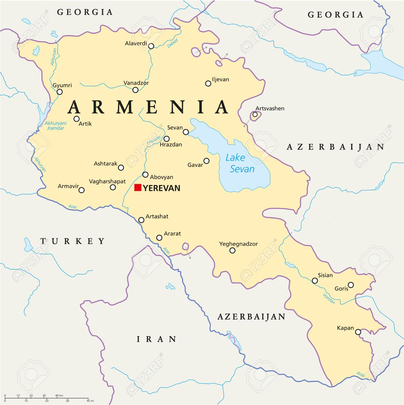 Armenia Political Map With Capital Yerevan, National Borders