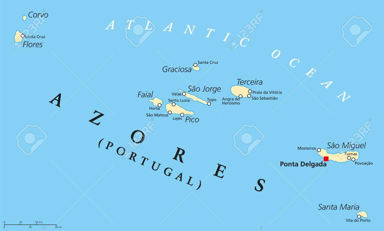 Islas De Portugal Mapa.Azores Mapa Politico Con Capital Administrativa Ponta Delgada Region Autonoma De Portugal Compuesto Por Nueve Islas Volcanicas Etiquetado Y Escalado