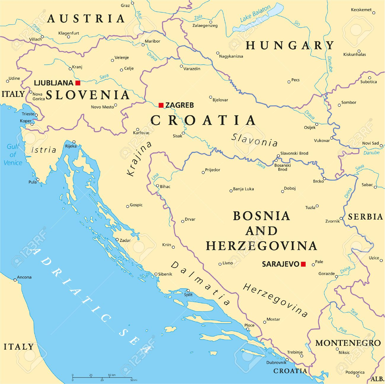 West Balkan Political Map Formed By Slovenia, Croatia And Bosnia ...