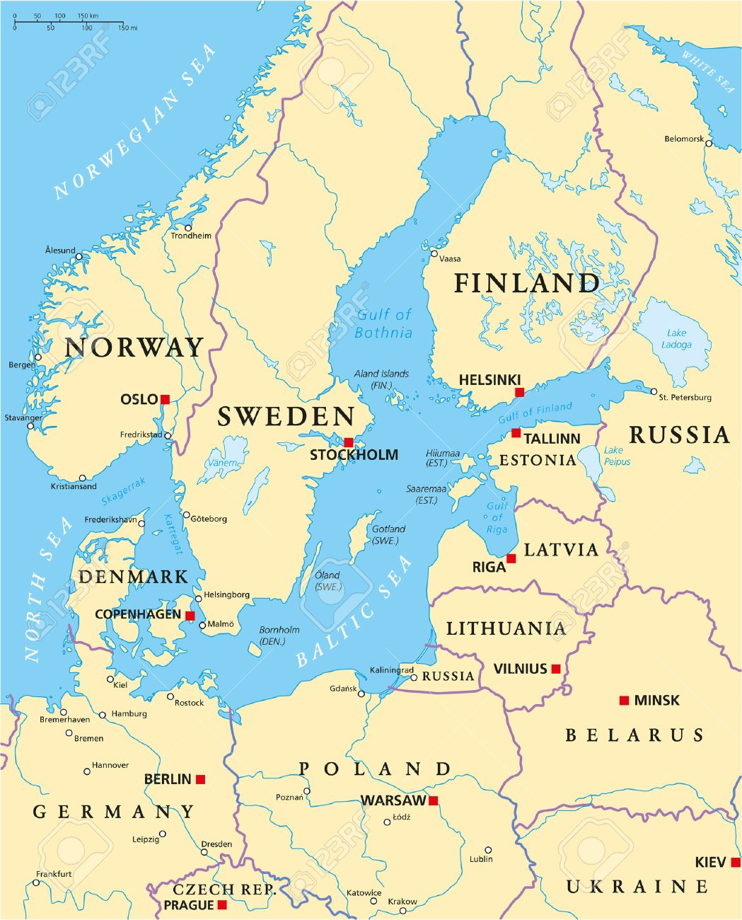Baltic Sea Area Political Map With Capitals, National Borders ...