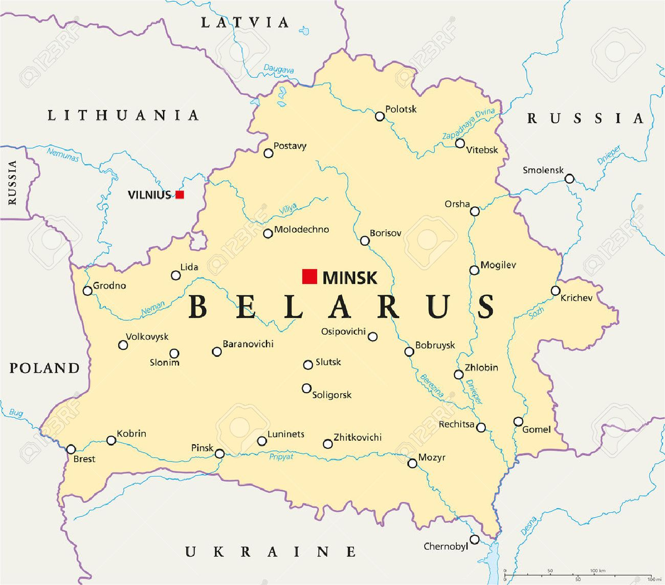 Belarus Political Map With Capital Minsk National Borders - minsk map