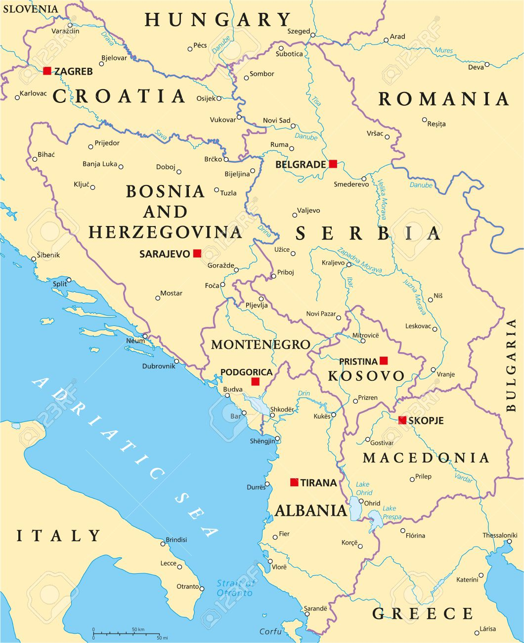 Central Balkan Political Map Formed By Bosnia And Herzegovina ...
