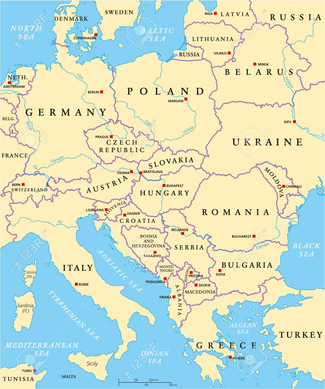 Central Europe Political Map With Capitals, National Borders ...
