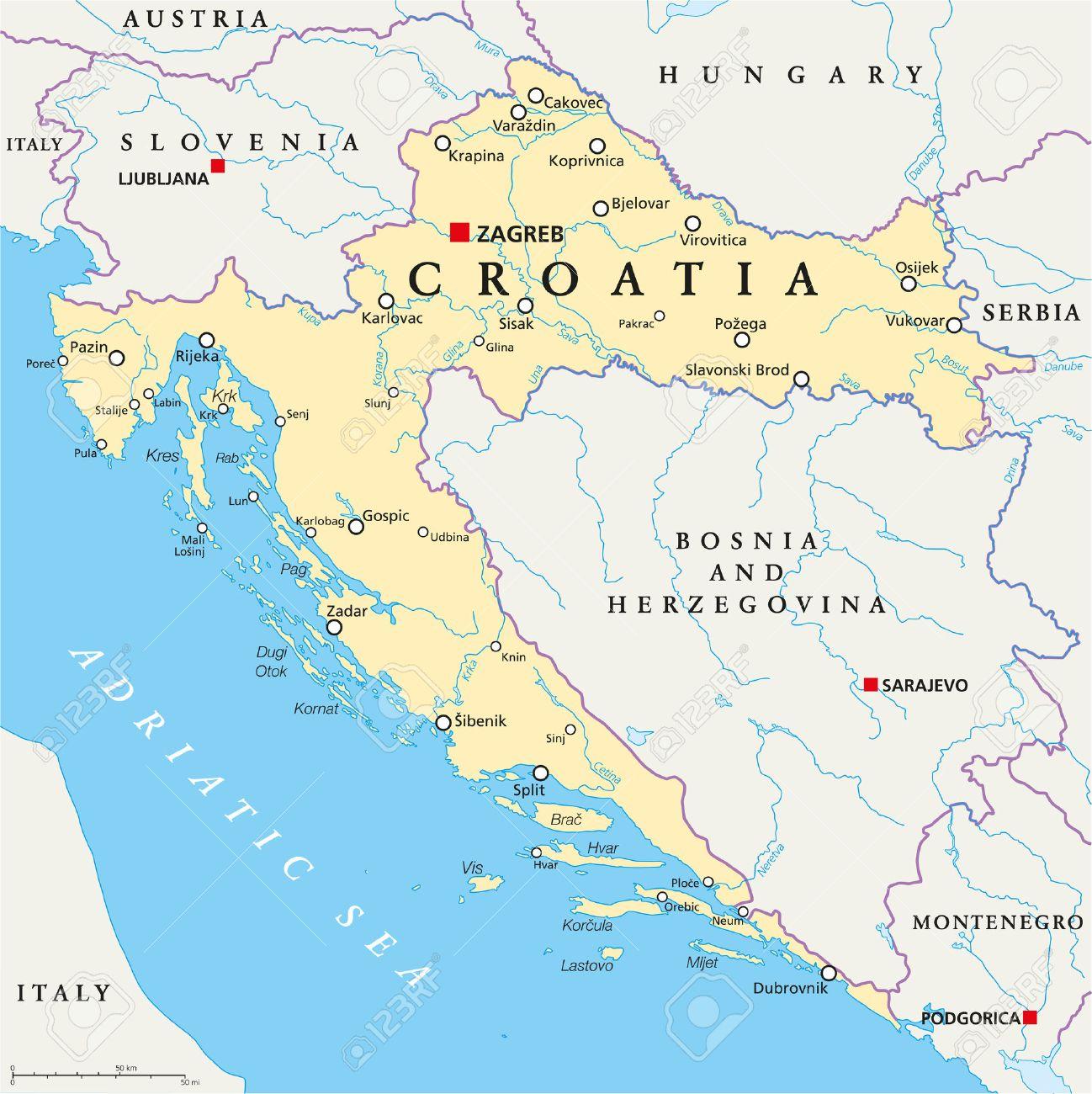 Croacia Mapa Politico Con Los De Capital Zagreb De Las Fronteras