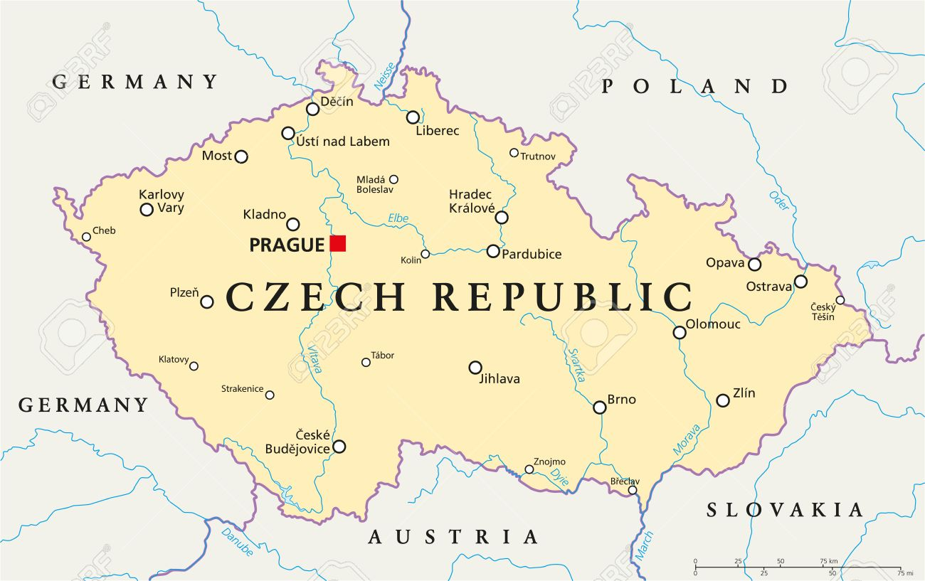 Czech Republic Political Map with capital Prague, national borders,..