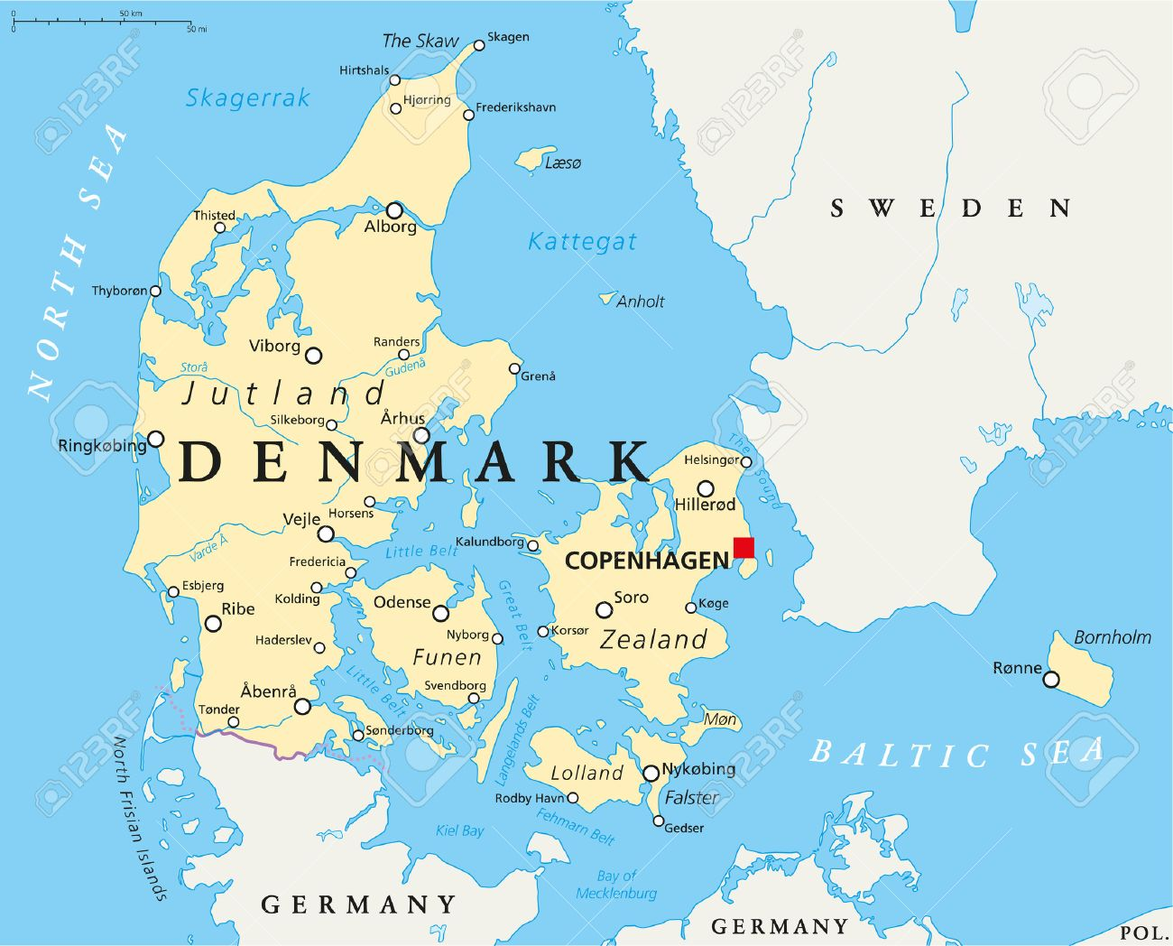 Denmark Political Map With Capital Copenhagen National Borders
