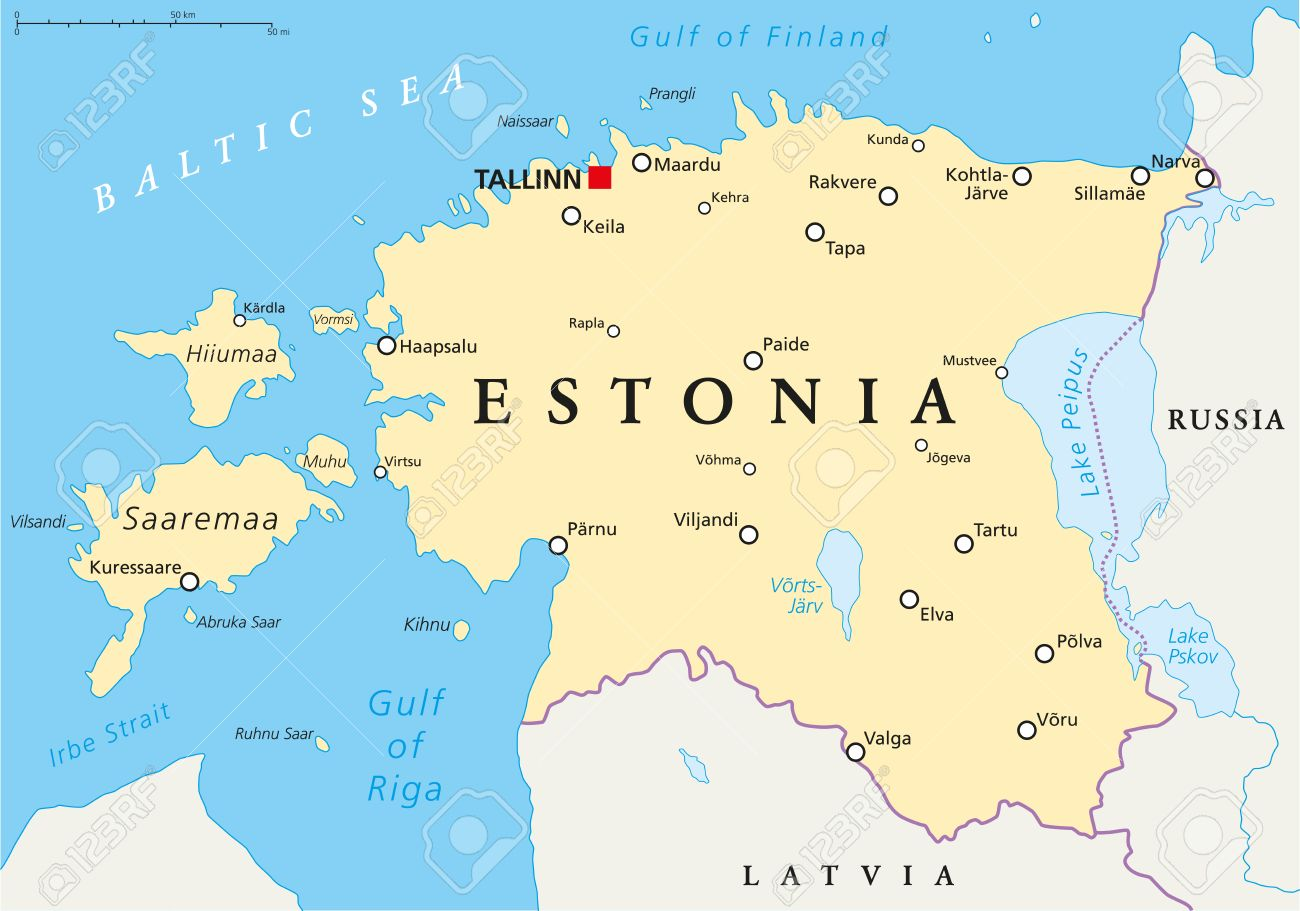 Estonia Political Map With Capital Tallinn National Borders - Tallinn map